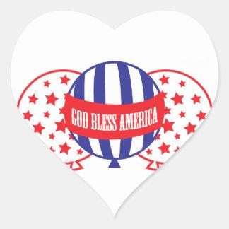 God Bless America balloons Heart Sticker