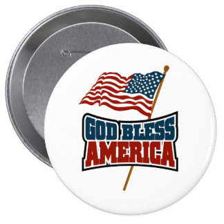 God Bless America 4 Inch Round Button
