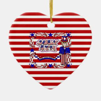 God Bless America Ceramic Ornament