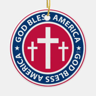 God Bless America Ceramic Ornament
