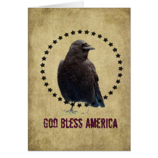God Bless America- Crow & Stars Greeting Card