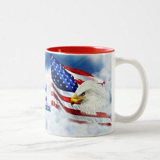God Bless America, Eagle & Flag in Sky Two-Tone Coffee Mug