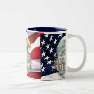 GOD BLESS AMERICA EAGLE Two-Tone COFFEE MUG