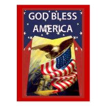 God bless America, flag and bald eagle Postcard