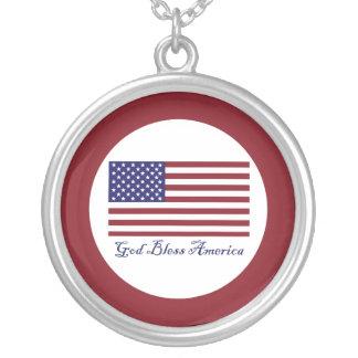 God Bless America Flag Custom Necklace