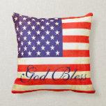 God Bless America flag pillow