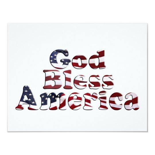 God Bless America Flag Text Design Card