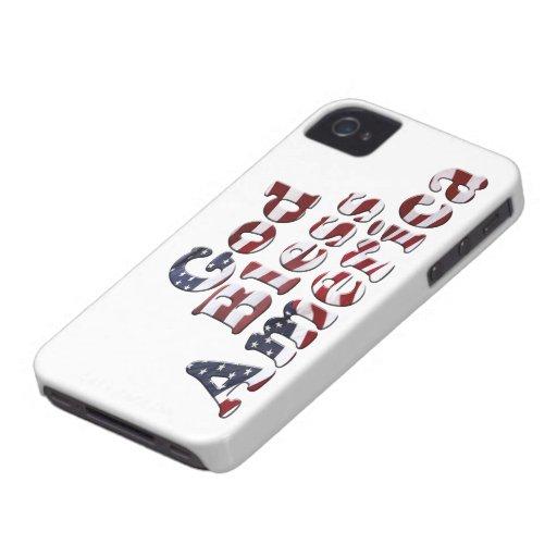 God Bless America Flag Text Design iPhone 4 Case-Mate Case