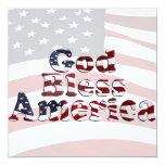God Bless America Flag Text Design 5.25x5.25 Square Paper Invitation Card