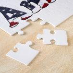 God Bless America Flag Text Design Jigsaw Puzzle