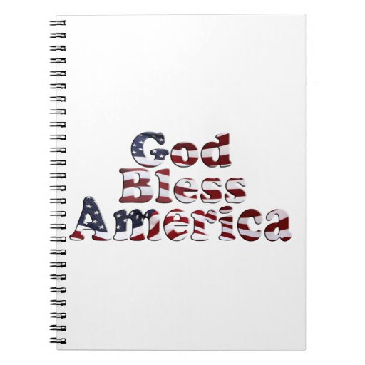 God Bless America Flag Text Design Spiral Note Book
