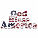 God Bless America Flag Text Design Photo Cut Out
