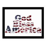 God Bless America Flag Text Design Postcard
