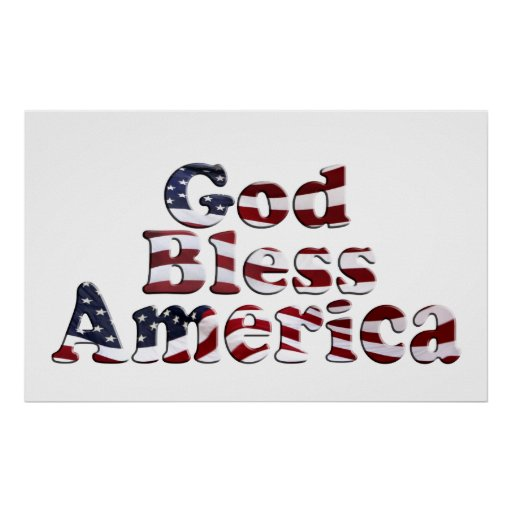 God Bless America Flag Text Design Posters