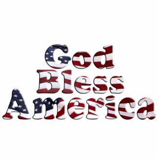 God Bless America Flag Text Design Statuette