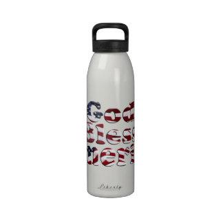God Bless America Flag Text Design Water Bottle