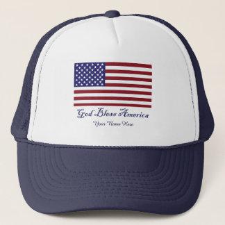 God Bless America Flag Trucker Hat
