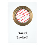"God Bless America Gold Photo Frame 5"" X 7"" Invitation Card"