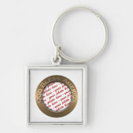God Bless America Gold Photo Frame Silver-Colored Square Keychain