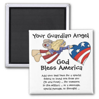 God Bless America Guardian Angel 2 Inch Square Magnet