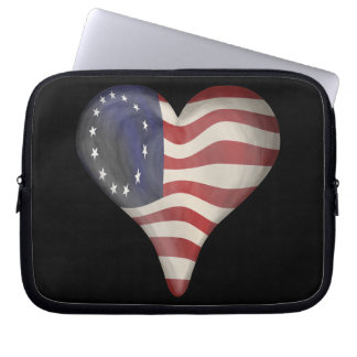 God Bless America In A Heart Laptop Sleeves
