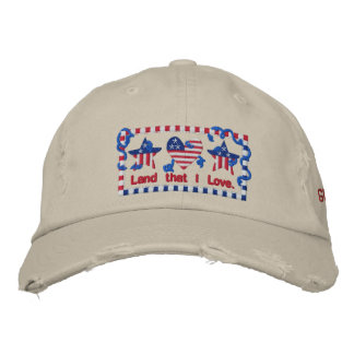 God Bless America Land That I Love Patriotic Embroidered Baseball Hat