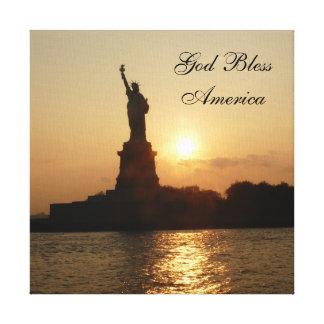 God Bless America-Liberty at Sunset Canvas Print