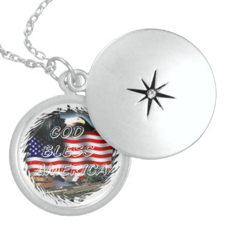 God bless america locket necklace