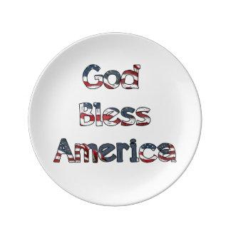 God Bless America Porcelain Plate