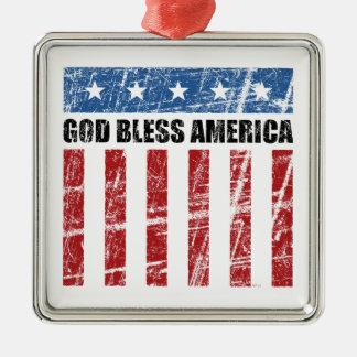 God Bless America Metal Ornament