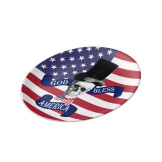 God bless America patriotic Dinner Plate