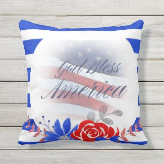 God Bless America Patriotic Outdoor Pillow