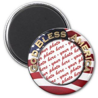 God Bless America Patriotic Photo Frame 2 Inch Round Magnet