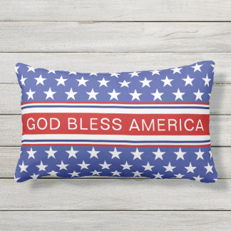 God Bless America Patriotic Red White And Blue Lumbar Pillow