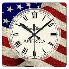 God Bless America Patriotic Vintage Flag Wall Clocks
