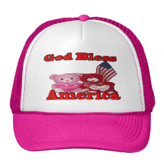 God Bless America Pink And Red Bear Hat