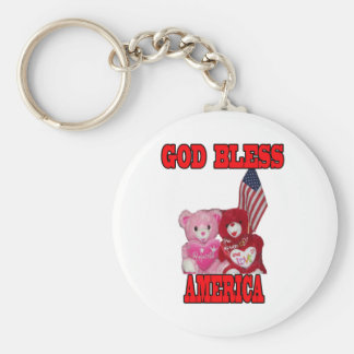 God Bless America Pink And Red Bear Keychain