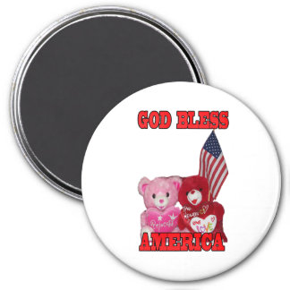 God Bless America Pink And Red Bears Magnet