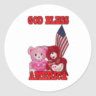 God Bless America Pink And Red Bears Sticker