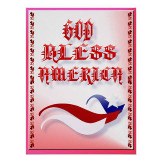 God Bless America-red Poster