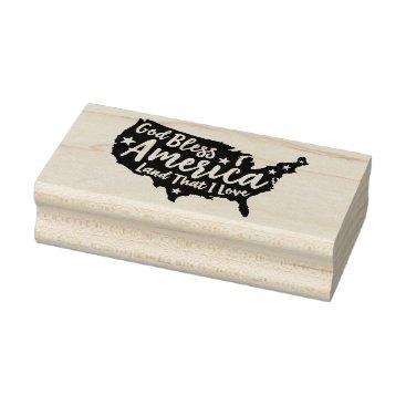 USA Themed God Bless America Rubber Art Stamp