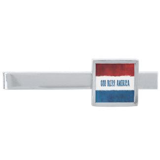 God Bless America Silver Finish Tie Bar