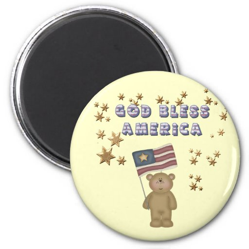 God Bless America  Teddy Bear 2 Inch Round Magnet