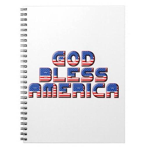 God Bless America Text Design Spiral Notebook