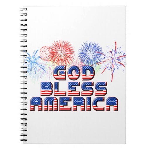 God Bless America Text Design With Fireworks Notebook