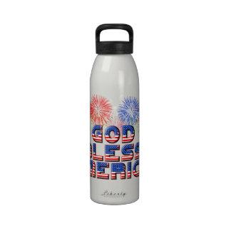 God Bless America Text Design With Fireworks Drinking Bottles