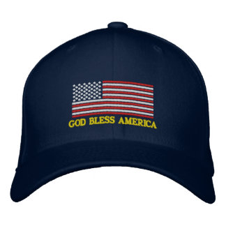 GOD BLESS AMERICA U.S. Flag Embroidered Hat