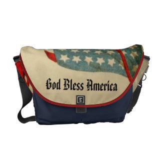 God Bless America Vintage US Flag Patriotic Courier Bag
