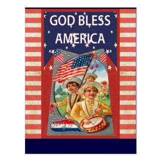God Bless America with patriotic children Postcard