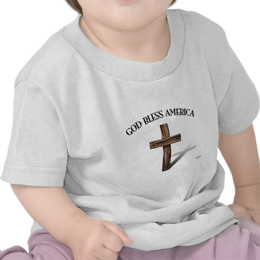 GOD BLESS AMERICA with rugged cross T Shirt